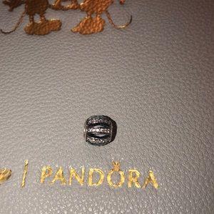 Authentic Pandora black openwork barrel charm